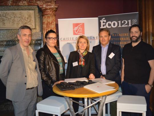 Olivier Ducuing (Eco121), Annalisa De Maestri (Mbacity), Frédérique Baledent (Caisse d'Epargne Hauts de France), Dominique Masse (Ramery) et Manuel Gomes (Stereograph).