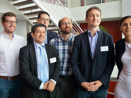 De gauche à droite : Julien Payen et Pierre Guerreschi (Lattice Medical), Dr Abderrahim Lachgar (Par'immune), Alexis Vlandas et Philippe Pebay (Zymoptiq) et Dr Caroline Moreau (InBrain Pharma).