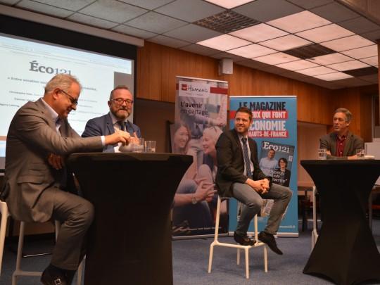 Damien Vandorpe, Christophe Itier, Grégory Lelong, invités du club Eco121 à Valenciennes, animé par O. Ducuing.
