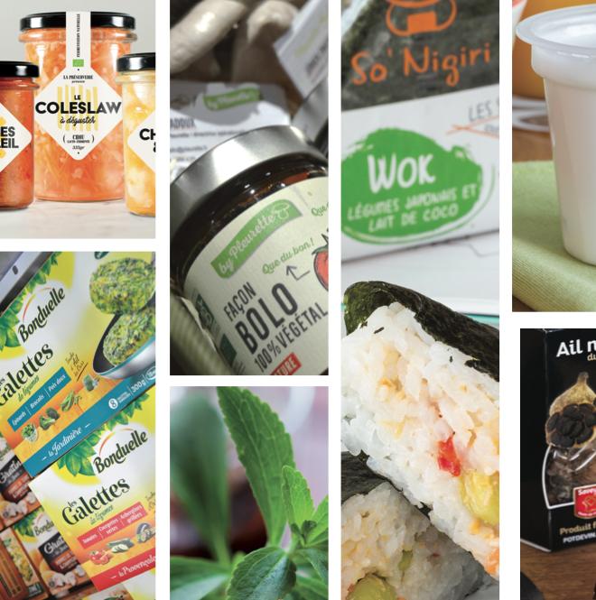 De g. à d.: Fruits et légumes bio et locaux transformés et conservés par lacto fermentation par La Préserverie. Sauce façon bolognaise 100% végétale à base de pleurotes de chez Pleurette. Sushi Onigiri aux protéines végétales de So'Nigiri. Bra