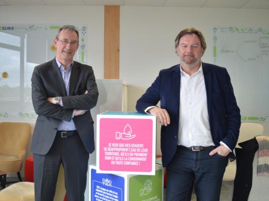 Arnaud Bazire, directeur régional Eau de Suez, et Franck Agneray, directeur recyclage et valorisation.