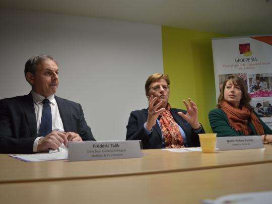 Frédéric Talik, Dg délégué habitat et patrimoine, Marie-Hélène Foubet, Dg SIA Habitat, et Marie Cornillon, Dg déléguée habitants et territoires.