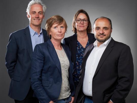 Franck Duriez (à g) et ses anciens collègues devenus associés : Caroline Lemaire, Corinne Devroux et Salvatore Spatafora.