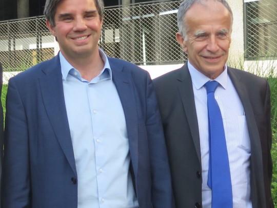 Yann Orpin, nouveau président du Medef Grand Lille, et Patrice Pennel qui succède à Frédéric Motte sur le périmètre Hauts-de-France