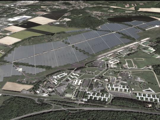 Une vision d'architecte de ce que sera la ferme solaire en pleine exploitation