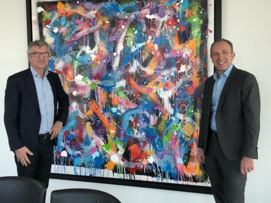 A gauche Philippe Lamblin président du Conseil , à droite Laurent Roubin, président du directoire