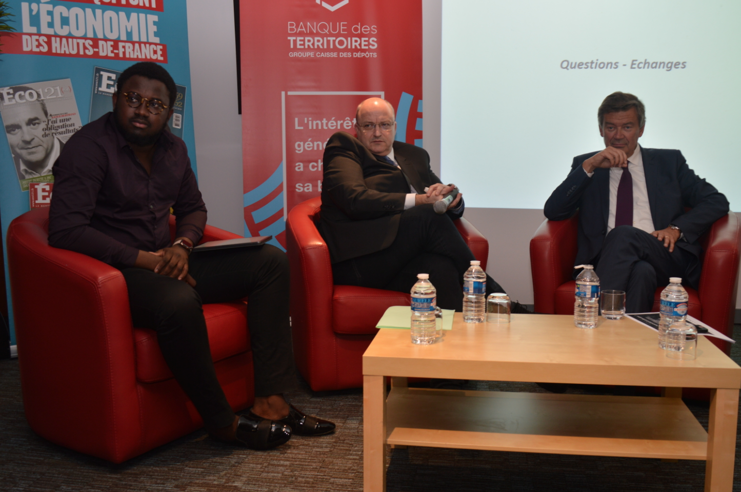 Abdoulaye Traoré, dirigeant d'Urban Labs Technologies, Damien Castelain, président de la MEL, et Philippe Hourdain, président de la CCI Hauts-de-France.