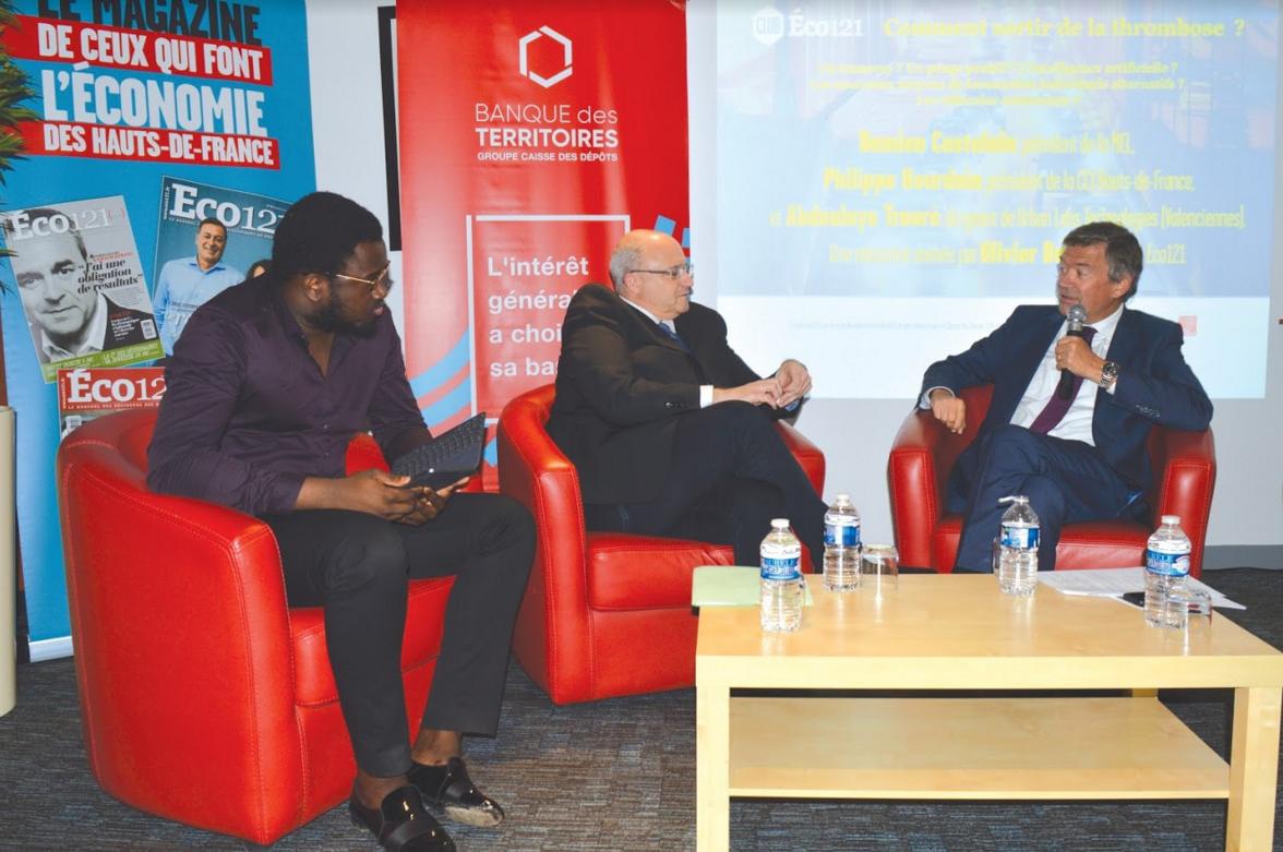 Abdoulaye Traoré, dirigeant d'Urban Labs Technologies (Valenciennes), Damien Castelain, président de la MEL, et Philippe Hourdain, président de la CCI Hauts-de-France.